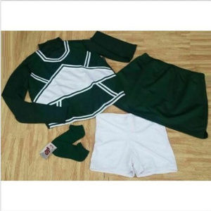 NEW CHEERLEADER UNIFORM CROP TOP SHELL SKIRT MORE